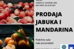 U subotu kod pošte prodaja domaćih mandarina i jabuka